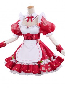Cherry Decoration Rose Printing Red Sweet Lolita Short Sleeve Puff Sleeve Dress