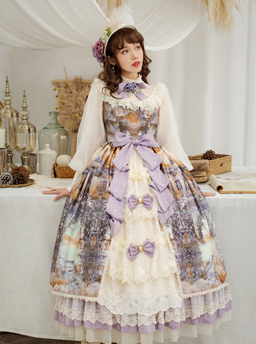 Dusk Of The Gods Series Elegant Retro Classic Lolita Long Sleeve Long Dress