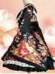 Japanese Style Flowers Printing Bowknot Black Kimono Classic Lolita Dress