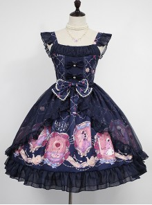Beauty And Beast Series Printing Classic Lolita Sling Dress