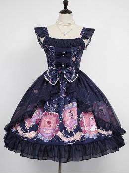Beauty And Beast Series Printing Classic Lolita Sling Dress