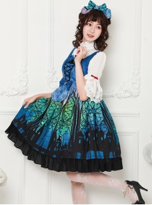Magic Tea Party City Of Aurora Series JSK Blue Classic Lolita Sleeveless Dress