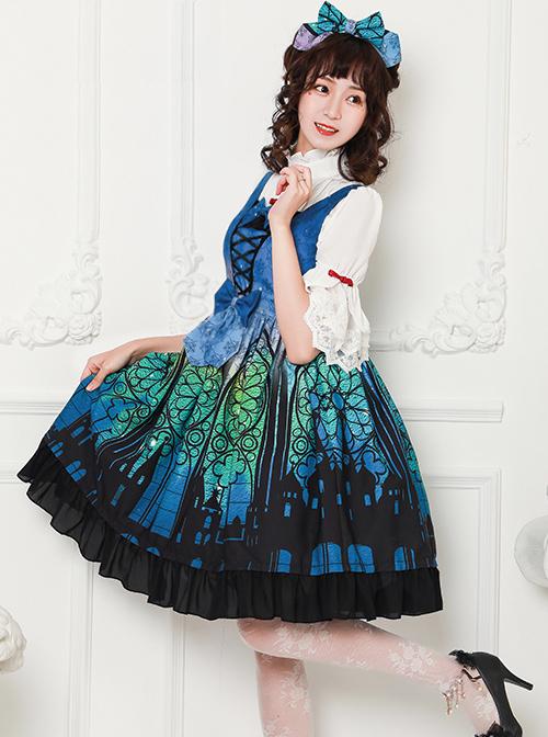 Magic Tea Party City Of Aurora Series JSK Blue Classic Lolita Sleeveless Dress