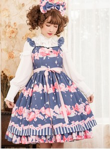 Magic Tea Party Peach Series Printing Sweet Lolita Sling Dress