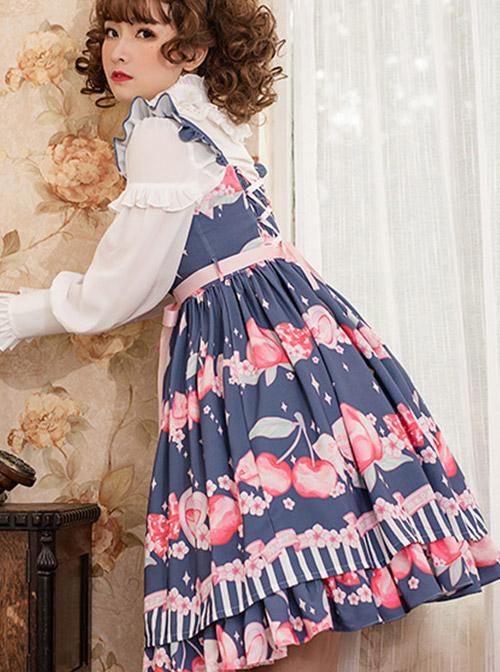 Magic Tea Party Peach Series Printing Sweet Lolita Sling Dress