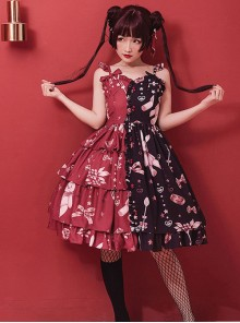 Magic Tea Party Chocolate Rabbit Series Printing Chinese Style Sweet Lolita Sling Dress