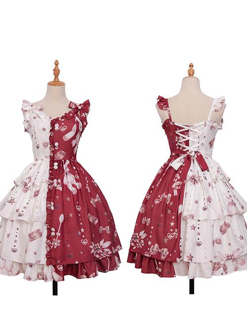 Magic Tea Party Chocolate Rabbit Series Printing Chinese Style Sweet Lolita Sling Dress