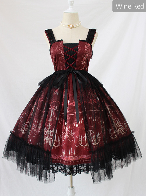 Chandelier Series Ruffle Bowknot Normal Hem Sweet Lolita Lace Sling Dress