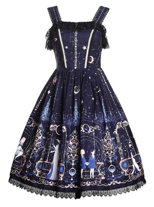 Astrology College Series Printing  JSK Classic Lolita Sling Dress