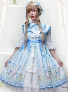 Lemon Duck Series OP Light Blue Pastoral Style Sweet Lolita Lapel Half Sleeve Dress
