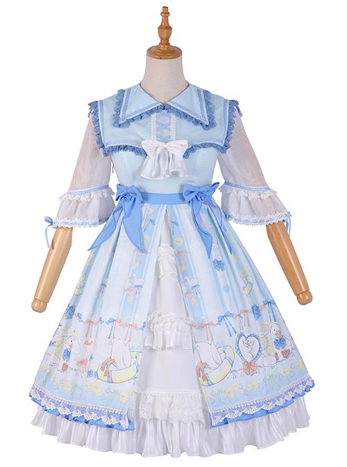 Lemon Duck Series OP Light Blue Pastoral Style Sweet Lolita Lapel Half Sleeve Dress