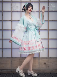 Cherry Blossom Festival Series JSK Printing Light Green Japanese Style Sweet Lolita Sling Dress With The Thin Coat