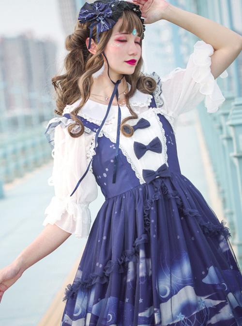 Dream Of Cloud Whale Series JSK Bowknot Navy Blue Sweet Lolita Sling Dress