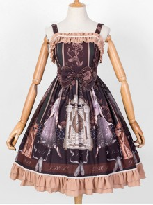 Sleeping Clock Series JSK Ruffle Brown Classic Lolita Sling Dress