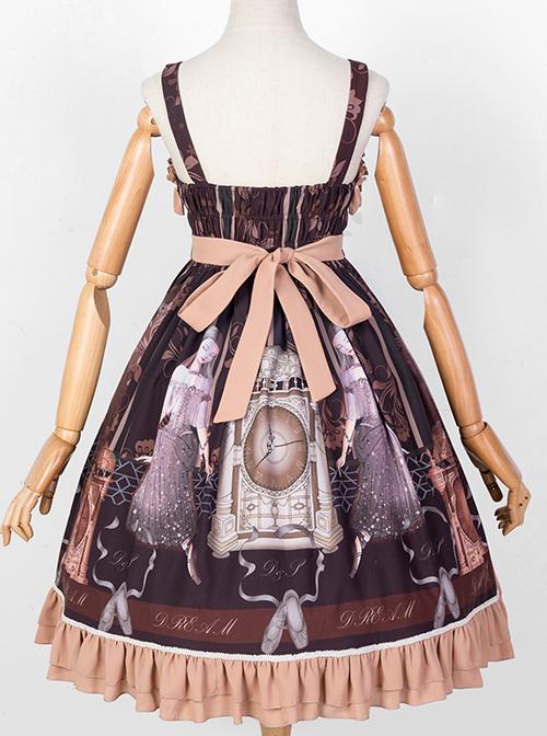 Sleeping Clock Series JSK Ruffle Brown Classic Lolita Sling Dress
