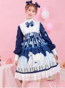Ice Bear Island Series OP Bowknot Blue Classic Lolita Long Sleeve Dress