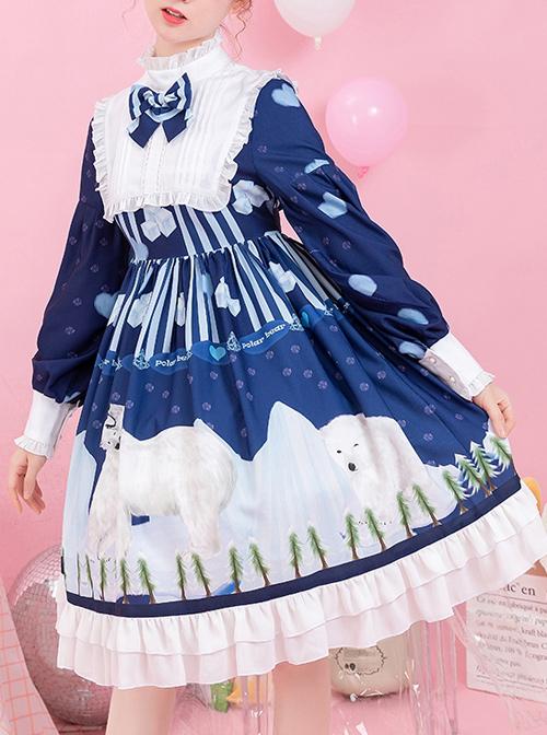 Ice Bear Island Series OP Bowknot Blue Classic Lolita Long Sleeve Dress