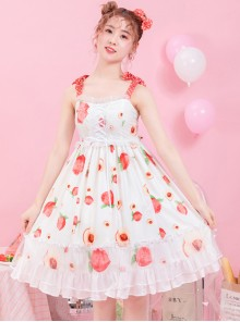 Summer Honey Peach Series JSK Honey Peach Printing White Sweet Lolita Sling Dress