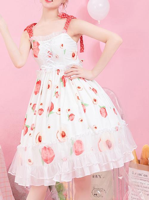 Summer Honey Peach Series JSK Honey Peach Printing White Sweet Lolita Sling Dress