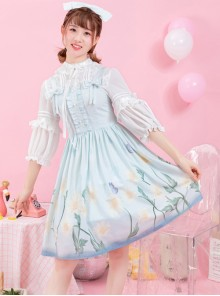 Daisy Series JSK Printing Bowknot Sweet Lolita Sling Dress