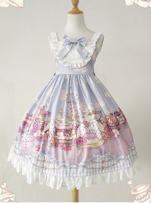 Lunch Tea Rabbit Series JSK Small High Waist Sweet Lolita Sling Dress