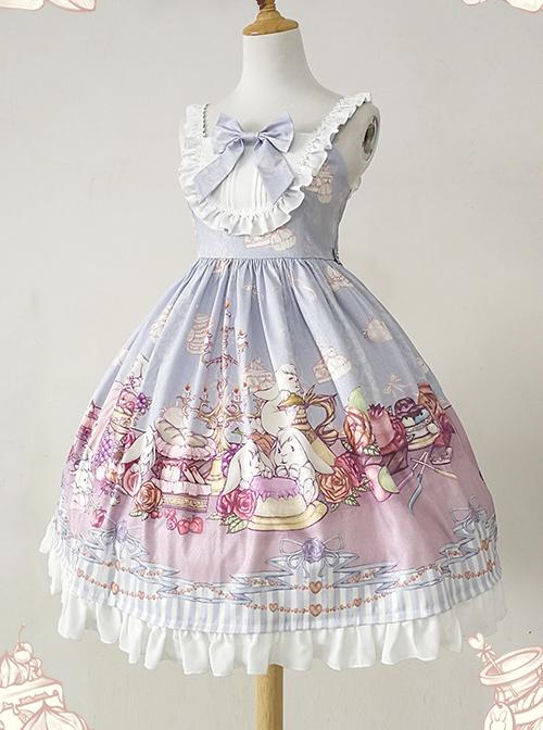 Lunch Tea Rabbit Series JSK Small High Waist Sweet Lolita Sling Dress