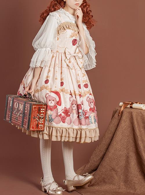 Gift Box Bear Series JSK Bowknot Ruffle Sweet Lolita Sling Dress