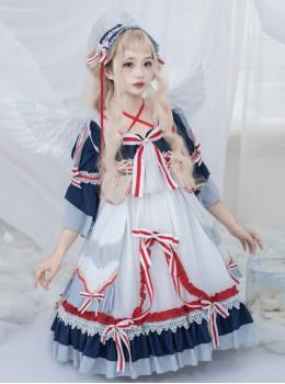 Snow White Series OP Navy Palace Style Classic Lolita Short Sleeve Dress