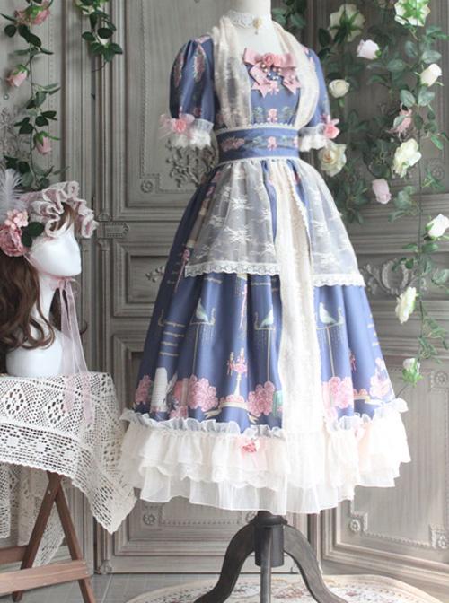The Poetry Of Roses Series Elegant Classic Lolita Short Sleeves Long Dress