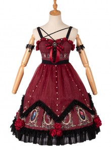 The Split Love Series Rose Gothic Lolita Red Sling Dress