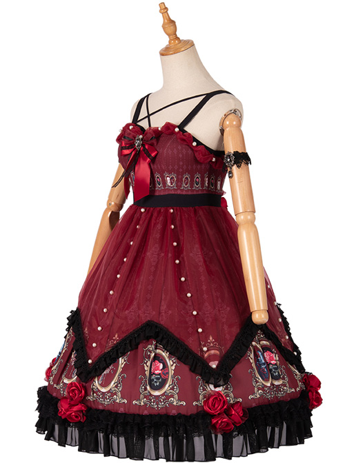 The Split Love Series Rose Gothic Lolita Red Sling Dress