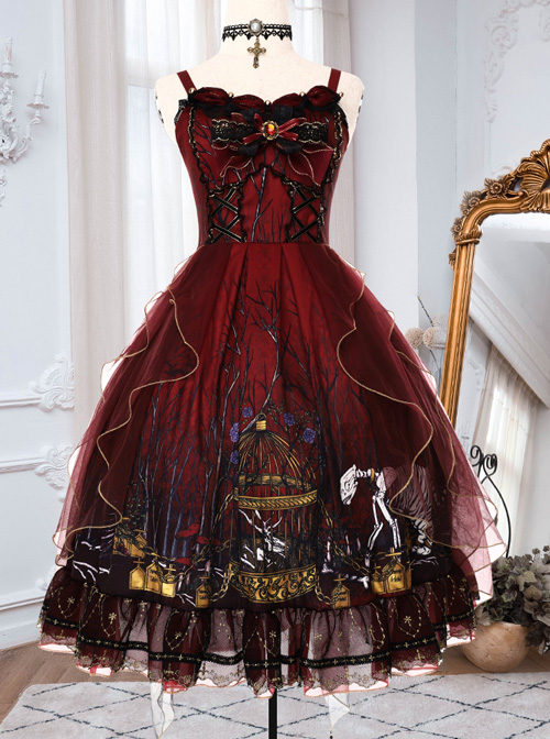 Decaying Forest Series JSK Retro Gothic Lolita Sling Dress