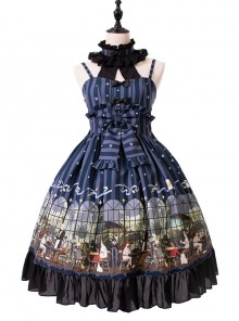 Magic Tea Party- Garden Restaurant Series JSK Bowknot Sweet Lolita Sling Dress