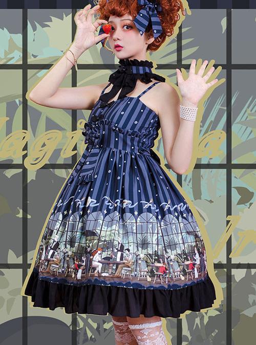 Magic Tea Party- Garden Restaurant Series JSK Bowknot Sweet Lolita Sling Dress