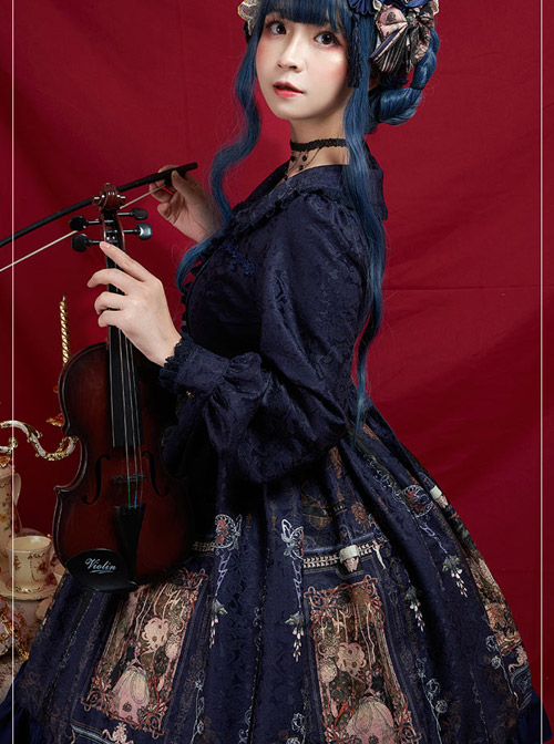 Ancient Castle Elf Series Doll Collar Elegant Retro Classic Lolita Long Sleeve Dress