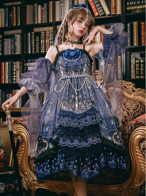 Death Butterfly Music Chapter Series JSK Gorgeous Gothic Lolita Sling Dress Set