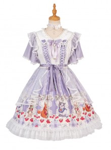 Miss Animal's Flowers Party Series OP Sweet Lolita Short Sleeve Dress