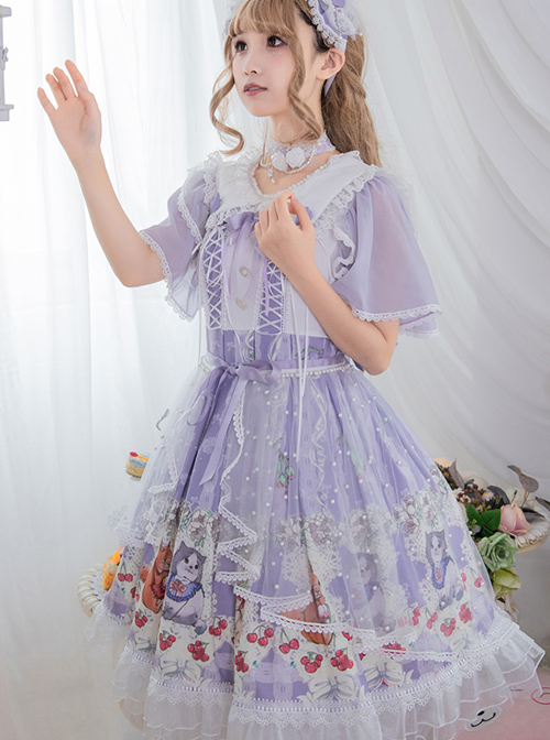 Miss Animal's Flowers Party Series OP Sweet Lolita Short Sleeve Dress