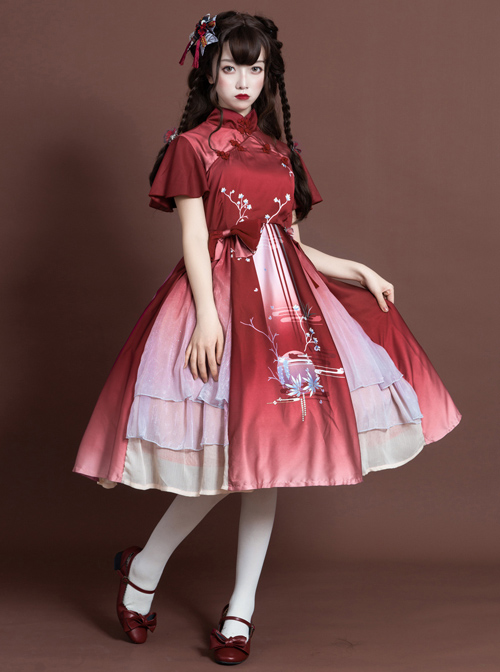 The Moon In The Mirror Series Chinese Style Elegance Classic Lolita Short Sleeve Dress