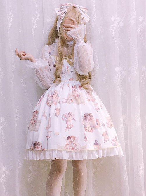 Oil Painting Angel Series JSK Sweet Lolita Sling Dress