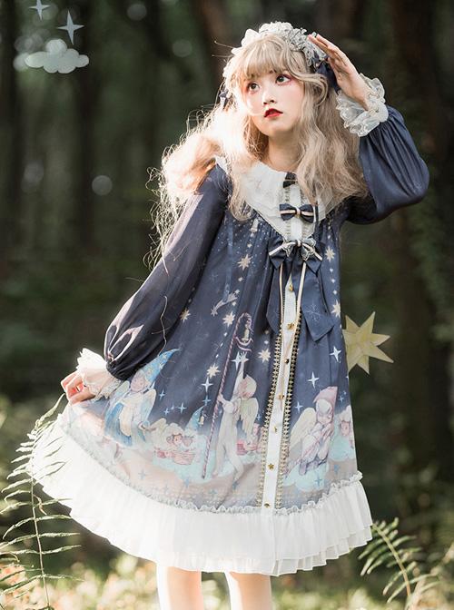 Little Prince Series OP Printing Bowknot High Waist Sweet Lolita Long Sleeve Dress
