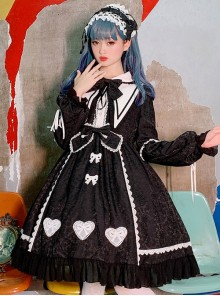 Alice Story Series Bowknot Doll Collar Sweet Lolita Long Sleeve Dress