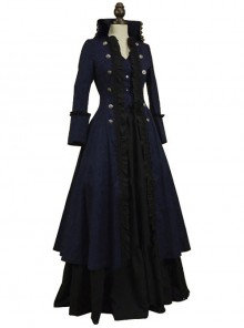 Multicolor Victorian Steampunk Lolita Prom Long Dress And Coat Set
