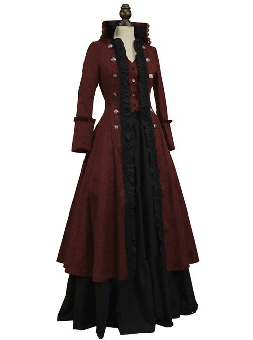 Multicolor Victorian Steampunk Lolita Prom Long Dress And Coat Set