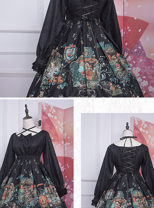 Strawberry Witch *The Fairytale Drama Of Chibor* Series Bowknot Sweet Lolita Long Sleeve Dress