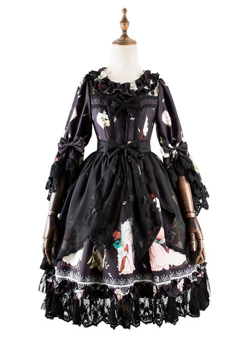 Magic Tea Party *Little Ada's Flowers* Series Retro Sweet Lolita Half Sleeve Dress