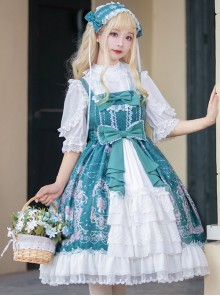 Full-blown Flowers Series Bowknot Chiffon Sweet Lolita Sling Dress
