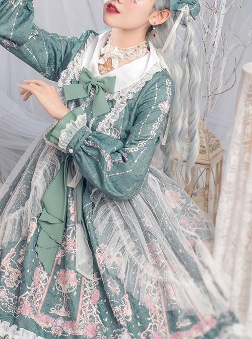 Full-blown Flowers Series Bowknot Ruffle Chiffon Sweet Lolita Long Sleeve Dress