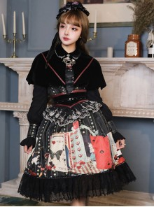 Playing Card Maze Series Retro Punk Lolita Long Sleeve Dress Set