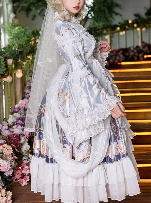 Cross Lily Series Gorgeous Tea Party Style Classic Lolita Long Sleeve Dress Full-set